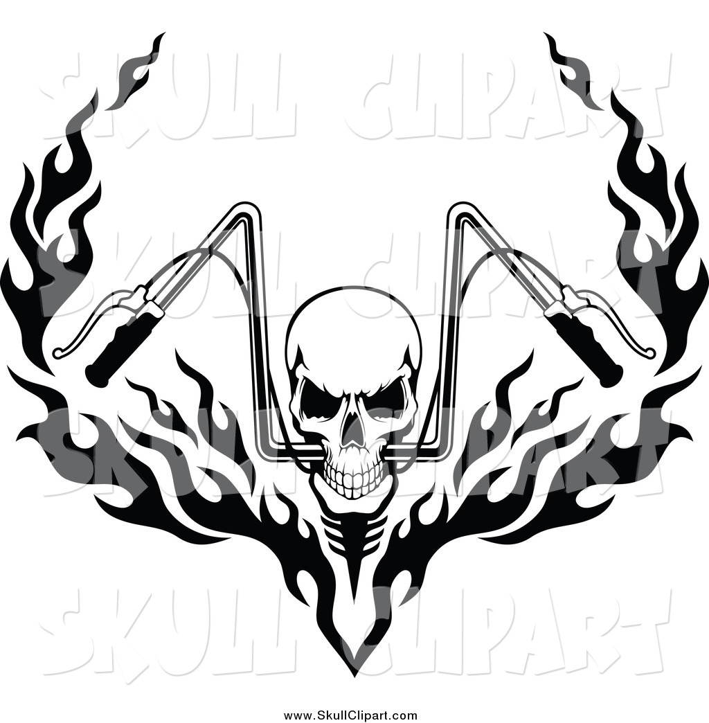 Vector clip art of a black and white skull and flaming motorcycle