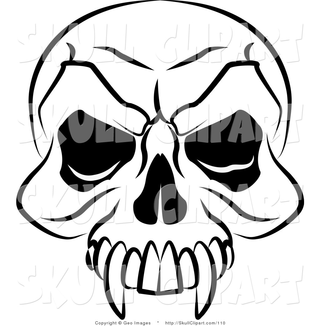 Vector Clip Art Of A Black And White Vampire S Skull With Fanged Teeth And Deep Eye Sockets By