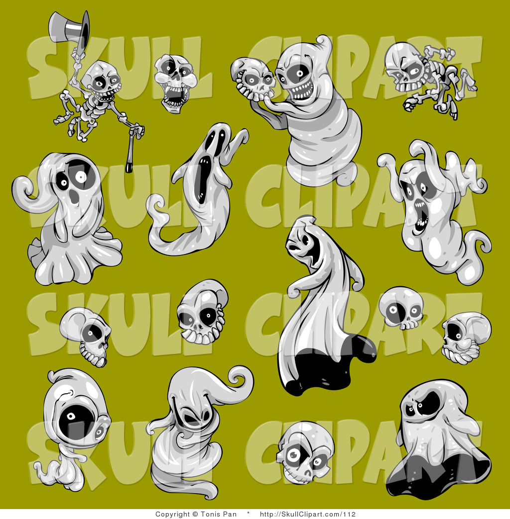 Vector Clip Art of a Collection of Scary and Evil Halloween Spooks ...