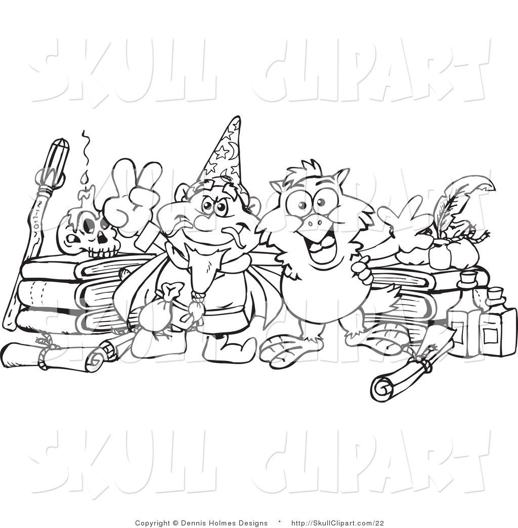 Vector Clip Art of a Coloring Page of a Sorcerer and Owl with ...