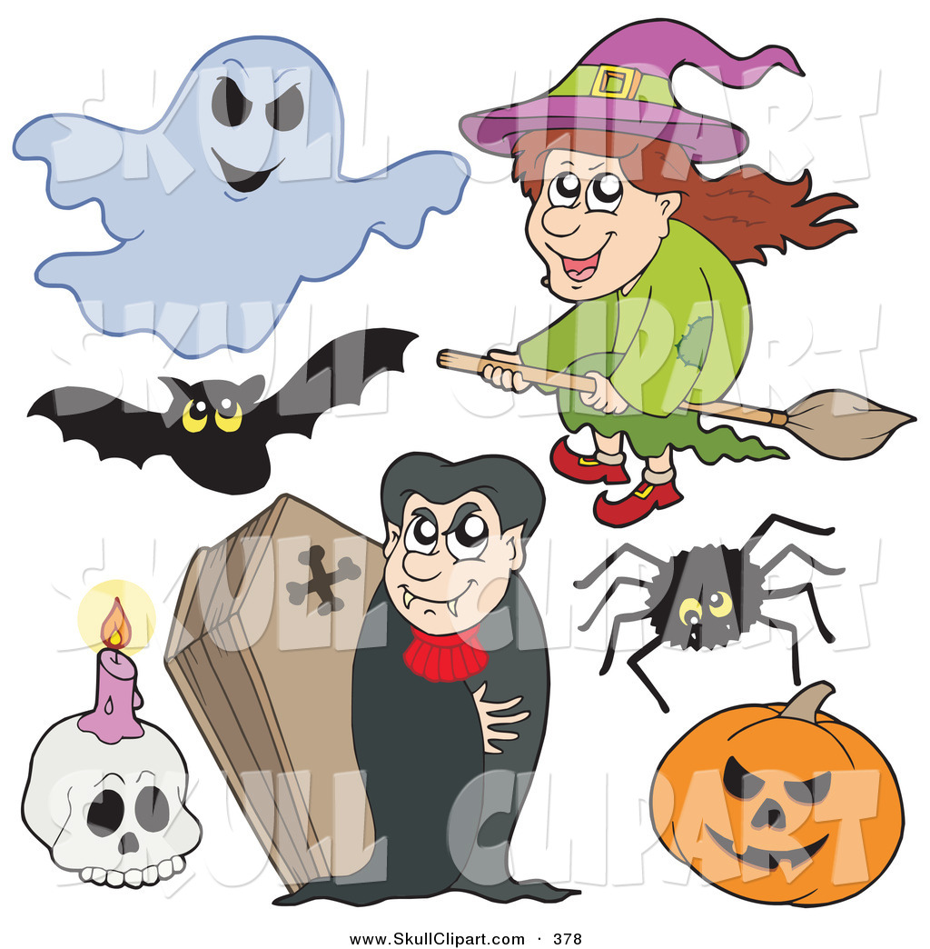 vector clip art of a digital collage of halloween items on a white background - Halloween Items