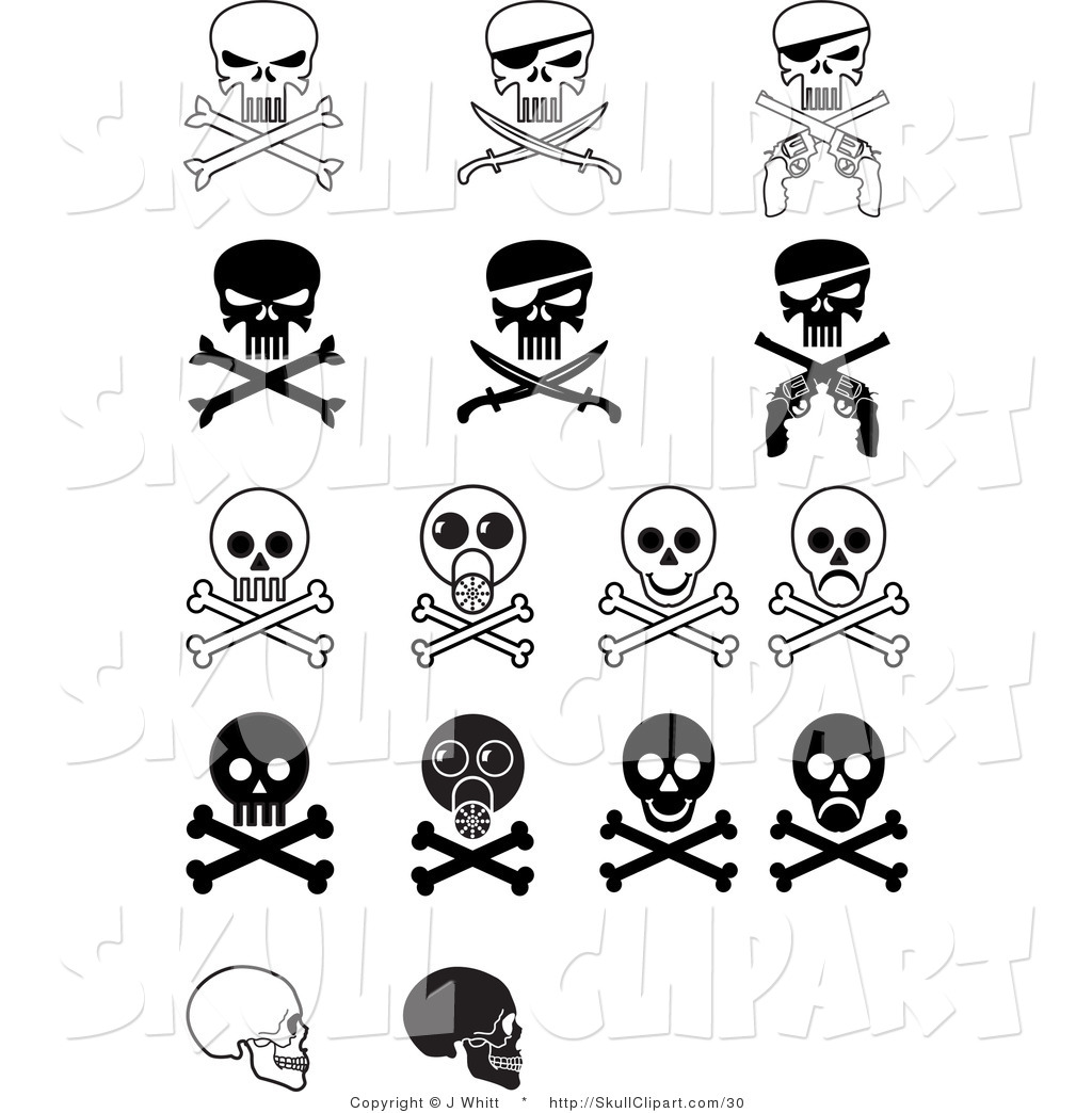 Vector Clip Art of a Digital Collage of Sixteen Evil Skulls and ...