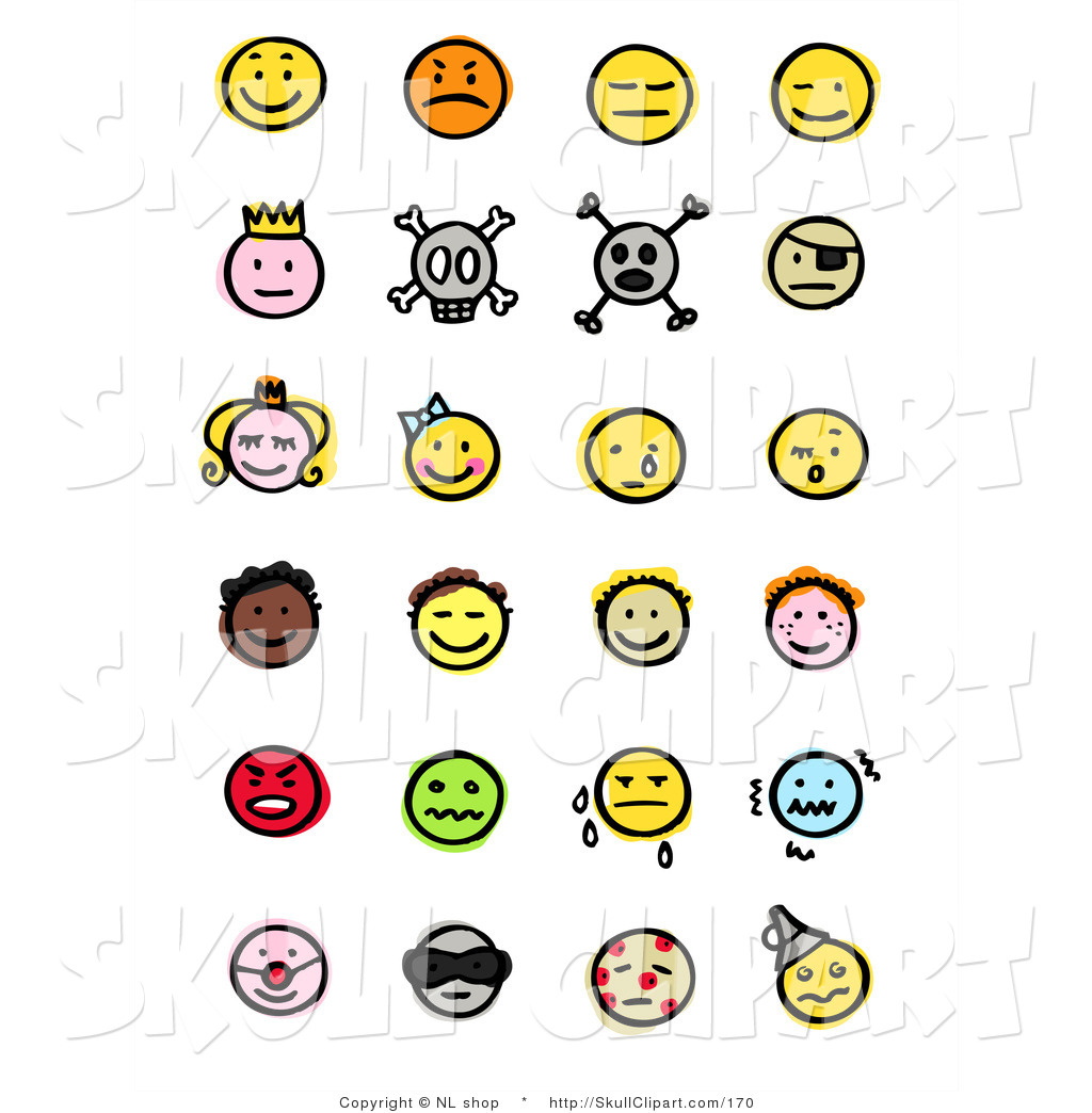 Royal skull pirate children crying sick and diverse emoticons