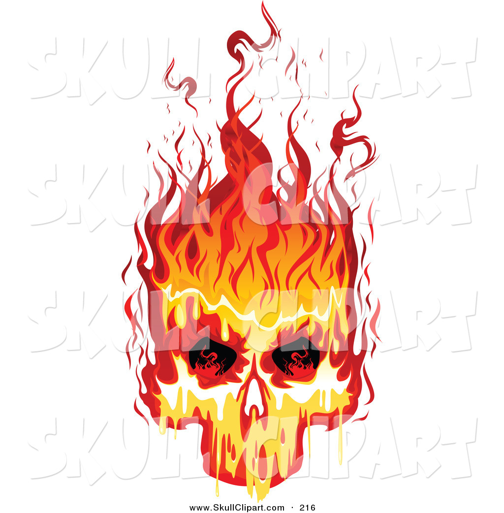 how to make a flaming clipart skull