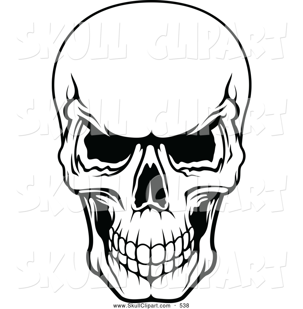 vector clip art of a frightening black and white evil human skull rh skullclipart co skull clipartlogo skull clipart collection
