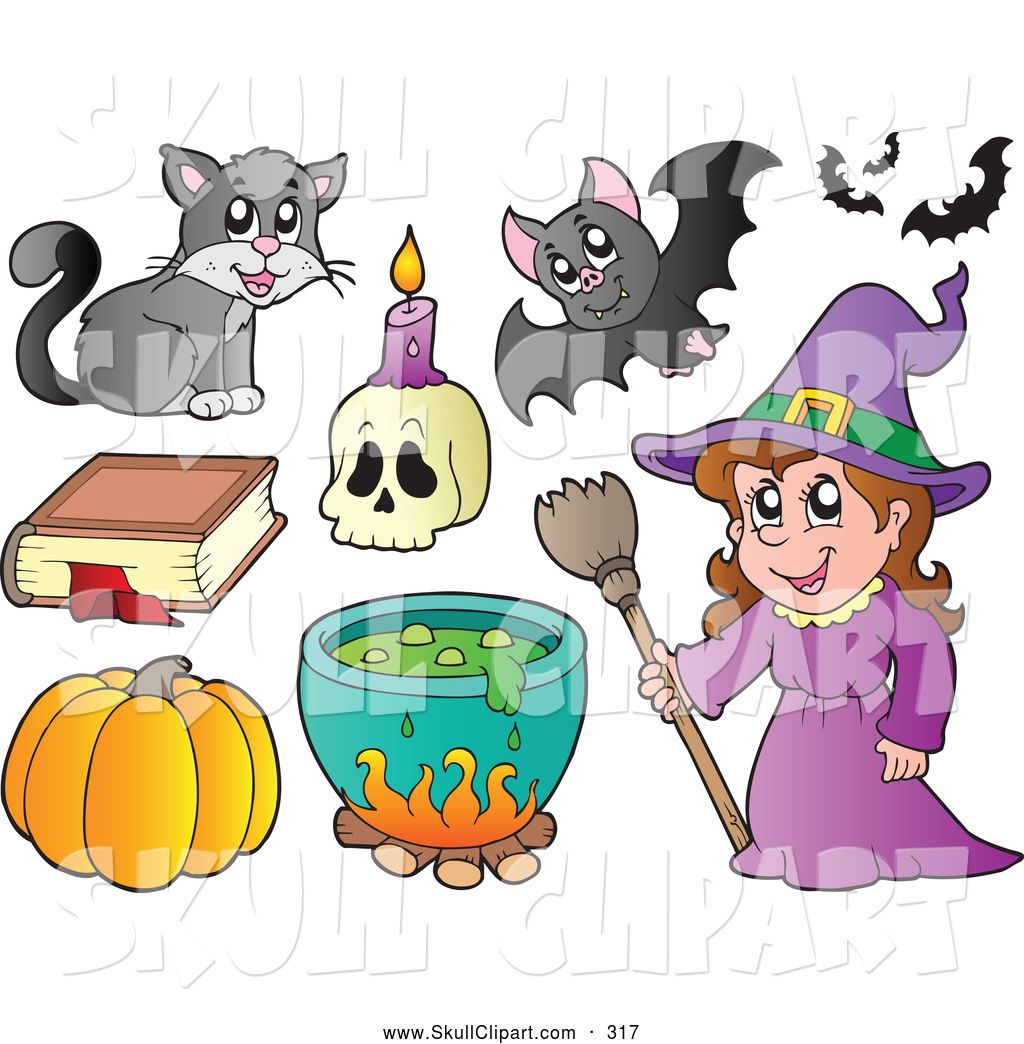 vector clip art of a group of halloween icons a witch with halloween items - Halloween Items