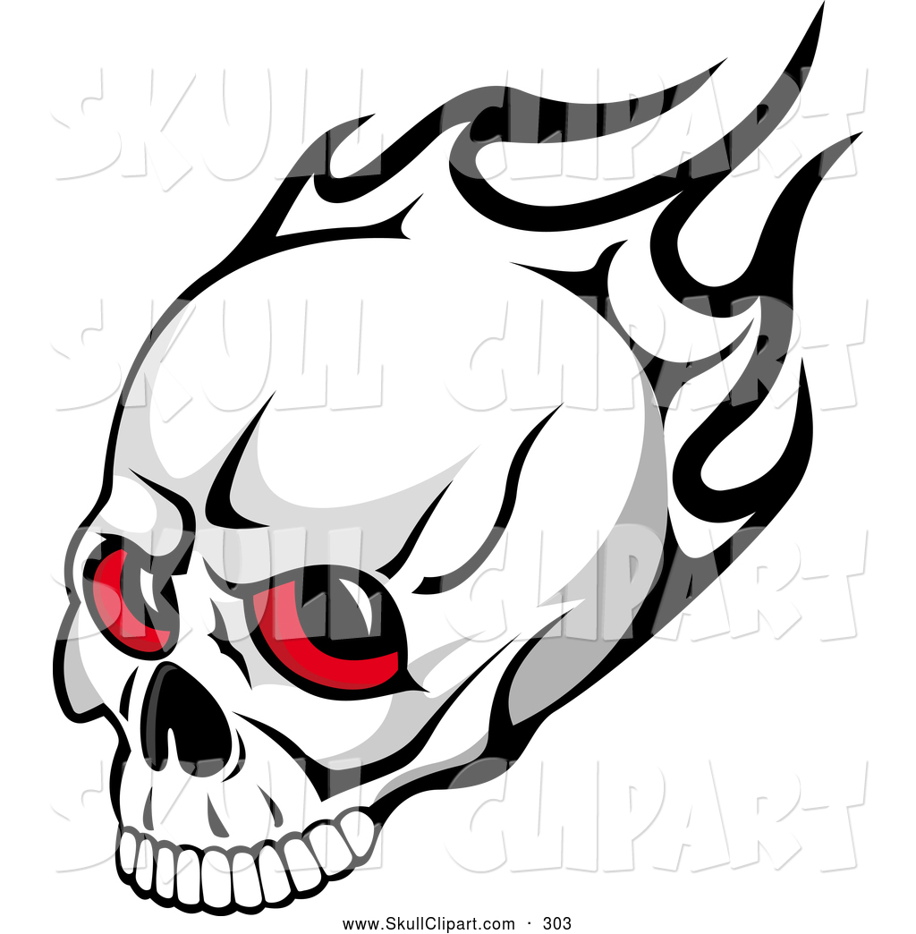 red eyed skull and black flames for halloween - Halloween Skulls Pictures