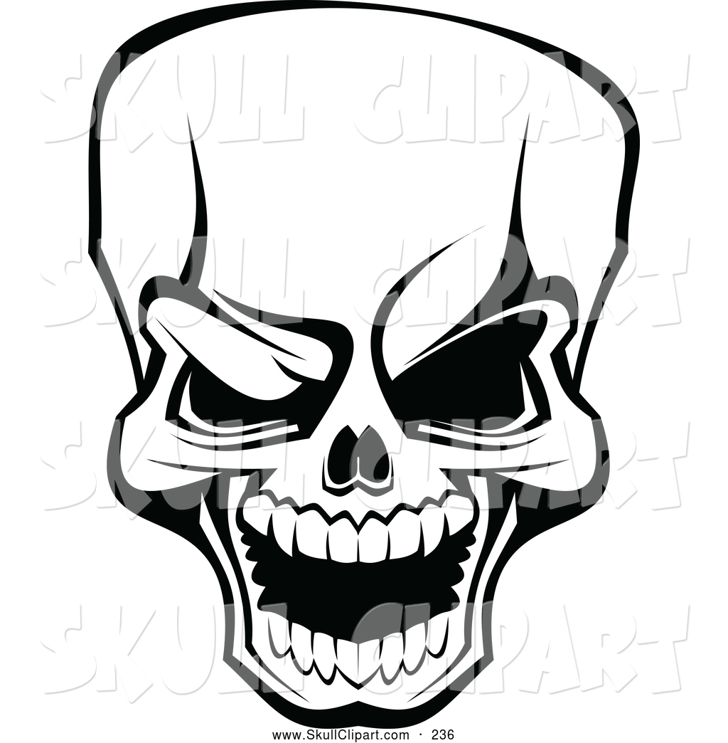 vector clip art of a scary angry black and white skull by vector rh skullclipart co vector skull and crossbones vector skull frameset