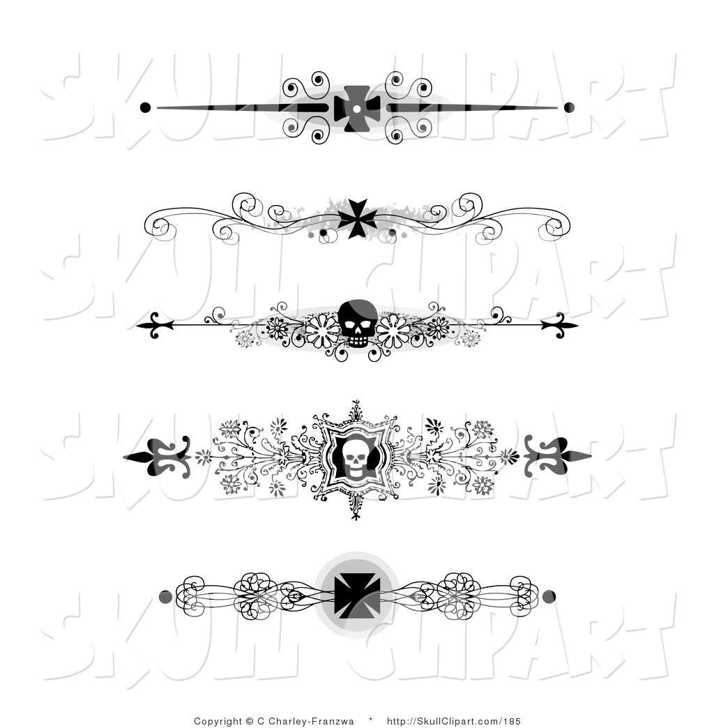 Art of a Set of Five Black and White Flourish Iron Cross and Skull ...