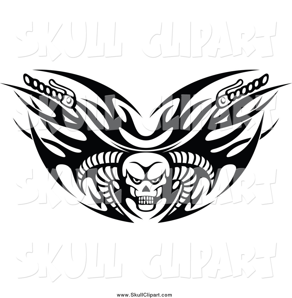 Motorcycle clip art with flames - Black And White Tribal Flaming Skull Motorcycle Biker Handlebars With Horns