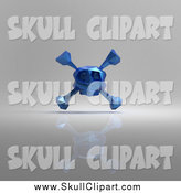 Clip Art of a 3d Blue Origami Skull and Crossbones over Gray by Julos