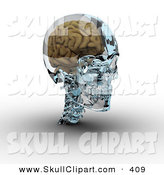 Clip Art of a 3d Brain in a Glass Skull on White by Michael Schmeling