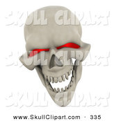 Clip Art of a 3d Evil Red Eyed Skull Grinning and Laughing by KJ Pargeter