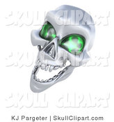 Clip Art of a 3d Evil Silver Human Skeleton Head with Glowing Green Eye Sockets by KJ Pargeter