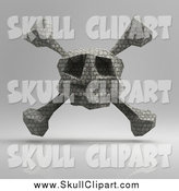 Clip Art of a 3d Floating Brick Skull, on Gray by Julos