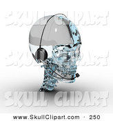 Clip Art of a 3d Glass Skull Wearing a Headset on White by Michael Schmeling