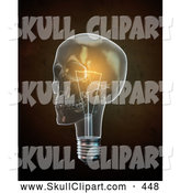 Clip Art of a 3d Glowing Lightbulb Skull over Brown by Mopic