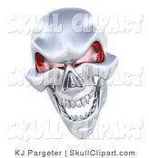 Clip Art of a 3d Grinning Silver Human Skeleton Head with Glowing Red Eye Sockets by KJ Pargeter