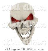 Clip Art of a 3d Human Skeleton Head with Glowing Red Eye Sockets and an Evil Grin by KJ Pargeter