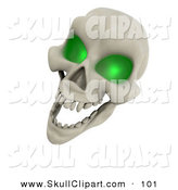Clip Art of a 3d Laughing Green Eyed Skull on White by KJ Pargeter