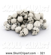 Clip Art of a 3d Pile of Bleached Human Skulls by KJ Pargeter