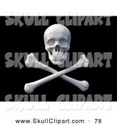 Clip Art of a 3d Pirate Skull over Crossbones on a Black Background by Mopic