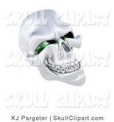 Clip Art of a 3d Silver Human Skeleton Head with Squinty Green Eye Sockets on White by KJ Pargeter