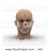 Clip Art of a 3d Skull and Brain Showing Through Transparent Skin on a Male Head on White by Michael Schmeling