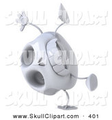 Clip Art of a 3d Skull Character Doing a Cartwheel on a White Background by Julos