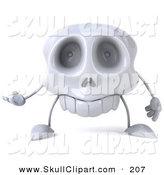 Clip Art of a 3d Skull Character Facing Forward and Gesturing by Julos