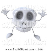 Clip Art of a 3d Skull Character Facing Front and Jumping on White by Julos