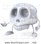 Clip Art of a 3d Skull Character Gesturing Forward by Julos