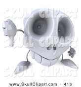 Clip Art of a 3d Skull Character Holding a Thumb down on White by Julos