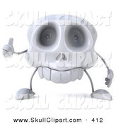 Clip Art of a 3d Skull Character Holding a Thumb up and Looking Forward by Julos