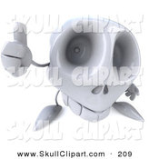 Clip Art of a 3d Skull Character Holding a Thumb up on White by Julos