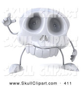 Clip Art of a 3d Skull Character with an Idea Pointing up by Julos