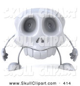 Clip Art of a 3d Skull Character with Tiny Arms by Julos