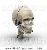 Clip Art of a 3d Skull Wearing a Headset and Looking Right by Michael Schmeling