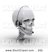 Clip Art of a 3d White Skull Wearing a Headset and Looking Right by Michael Schmeling