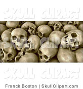 Clip Art of a Background of Human Skull Remains with Teeth and Empty Eye Sockets by Frank Boston