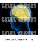 Clip Art of a Blue Head with a Yellow Brain Inside by Mopic