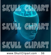Clip Art of a Blue Head with Exposed Brain in the Skull by Mopic
