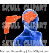 Clip Art of a Blue X-ray of a Drill Drilling into a Woman's Brain by Michael Schmeling