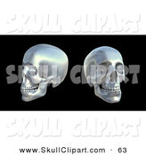 Clip Art of a Couple of Silver Human Skulls over Black by Mopic