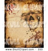 Clip Art of a Creepy Halloween Background of a Skull, Parchment, Bugs and Blood by KJ Pargeter