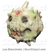 Clip Art of a Creepy Stitched Up, Toothy, Horned Skull Head Emoticon with Blood Splatter by Leo Blanchette