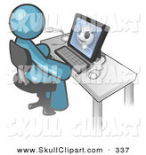 Clip Art of a Denim Blue Doctor Person Sitting at a Computer and Viewing an Xray of a Head by Leo Blanchette