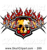 Clip Art of a Fiery Skull and Metal Bars with Flames, on White by Chromaco