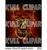 Clip Art of a Fiery Spooky Human Skull by Chrisroll