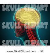 Clip Art of a Glowing Yellow Brain in a Human's Skull by Mopic